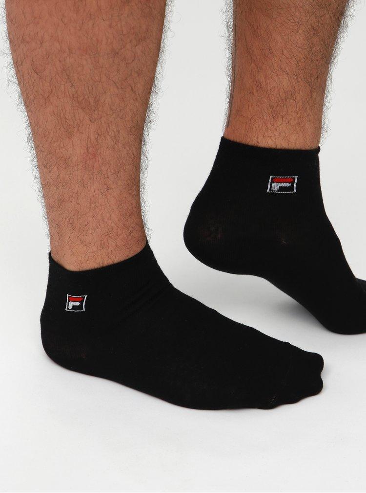 Sada tří párů pánských černých kotníkových ponožek FILA