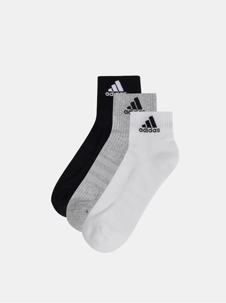 Sada tří párů pánských ponožek v bílé, šedé a černé barvě adidas Performance