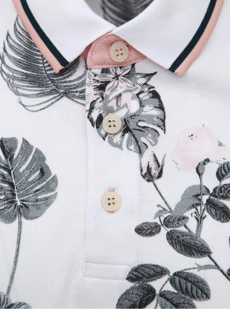 Bílé květované polo tričko Jack & Jones Palmer