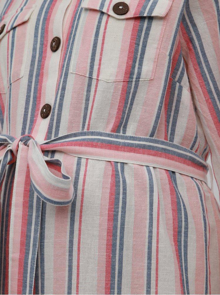 Rúžovo-krémové pruhované košeľové tehotenské šaty s prímesov ľanu Dorothy Perkins Maternity