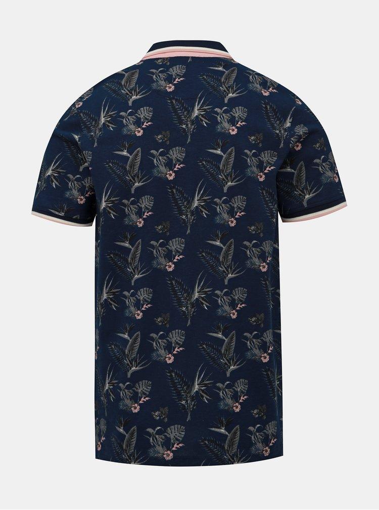Tmavě modré květované polo tričko Jack & Jones Palmer