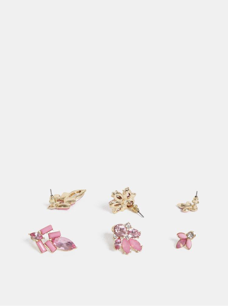 Sada tří párů růžových náušnic ONLY Smilla