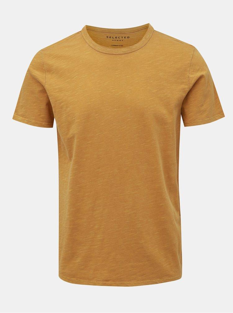 Žluté basic tričko Selected Homme Ben