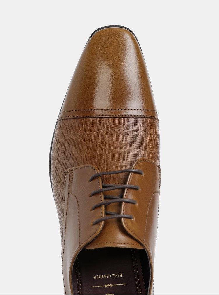 Hnedé kožené polobotky Burton Menswear London