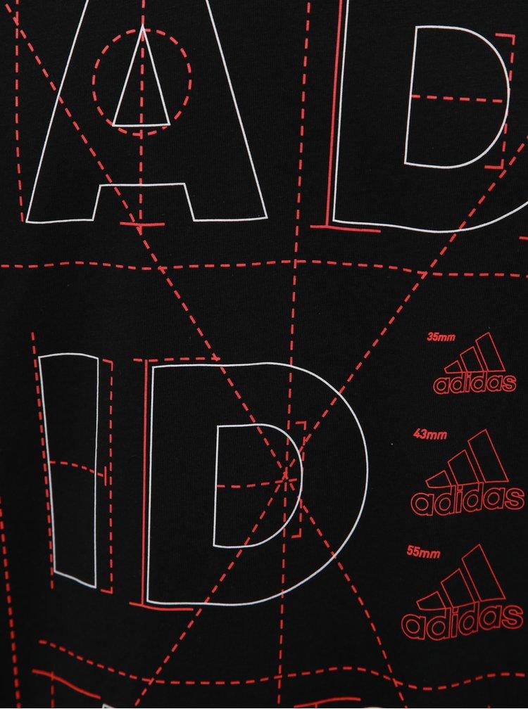 Čierne pánske tričko s potlačou adidas Originals Lineare