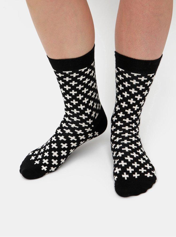 Bielo-čierne vzorované ponožky Happy Socks Plus
