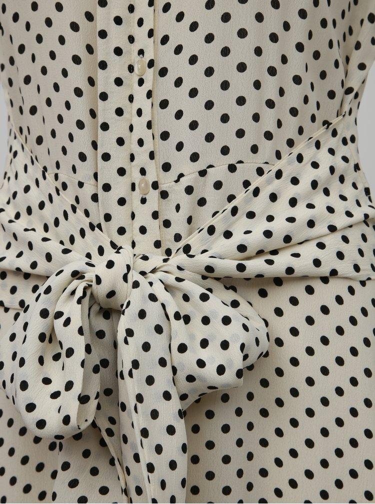 Krémové bodkované košeľové maxišaty VERO MODA Bigail