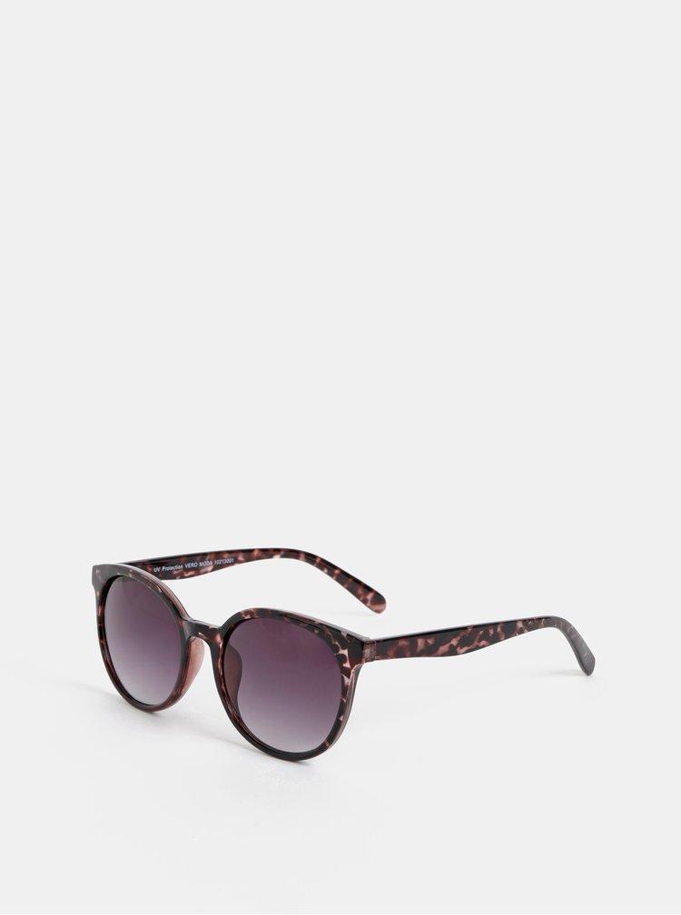 Tmavohnedé vzorované slnečné okuliare VERO MODA Smile