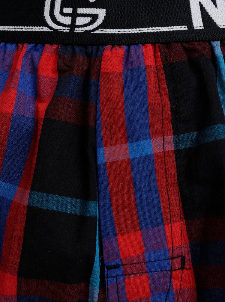Sada dvoch pánskych kockovaných trenýrok v červenej a modrej farbe NUGGET Karin