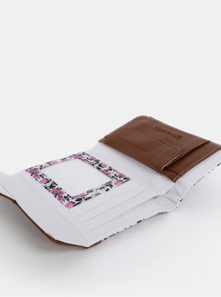 Hnedo-biela dámska kvetovaná peňaženka Meatfly Mia