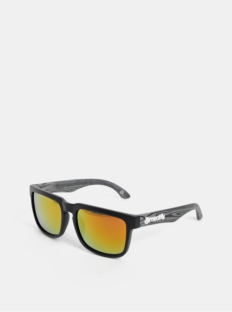 Šedo-černé vzorované sluneční brýle Meatfly Memphis