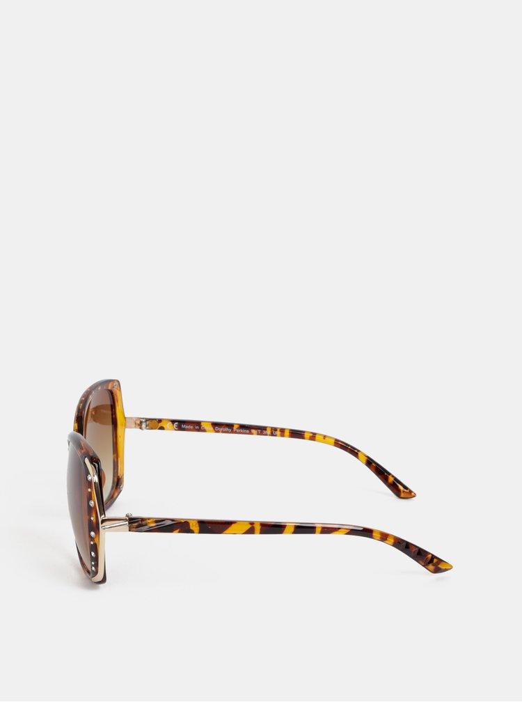 Hnedé vzorované slnečné okuliare s kamienkami Dorothy Perkins