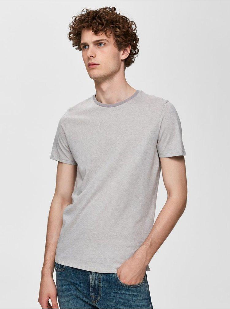 Šedé vzorované tričko Selected Homme Pete