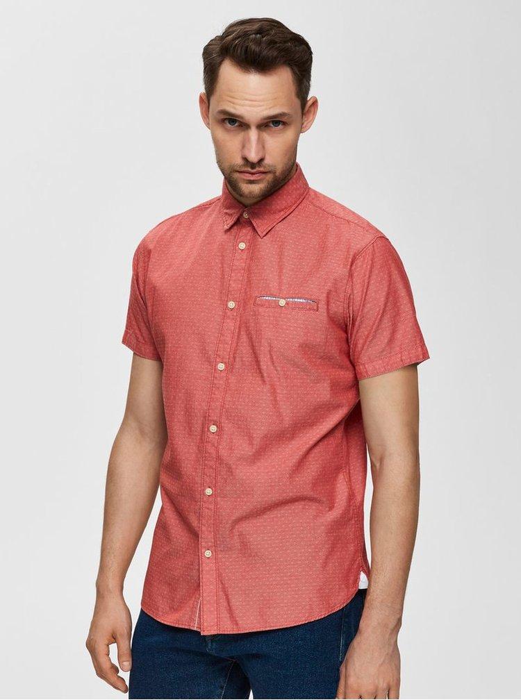 Červená vzorovaná slim fit košile s kapsou Selected Homme Bobby
