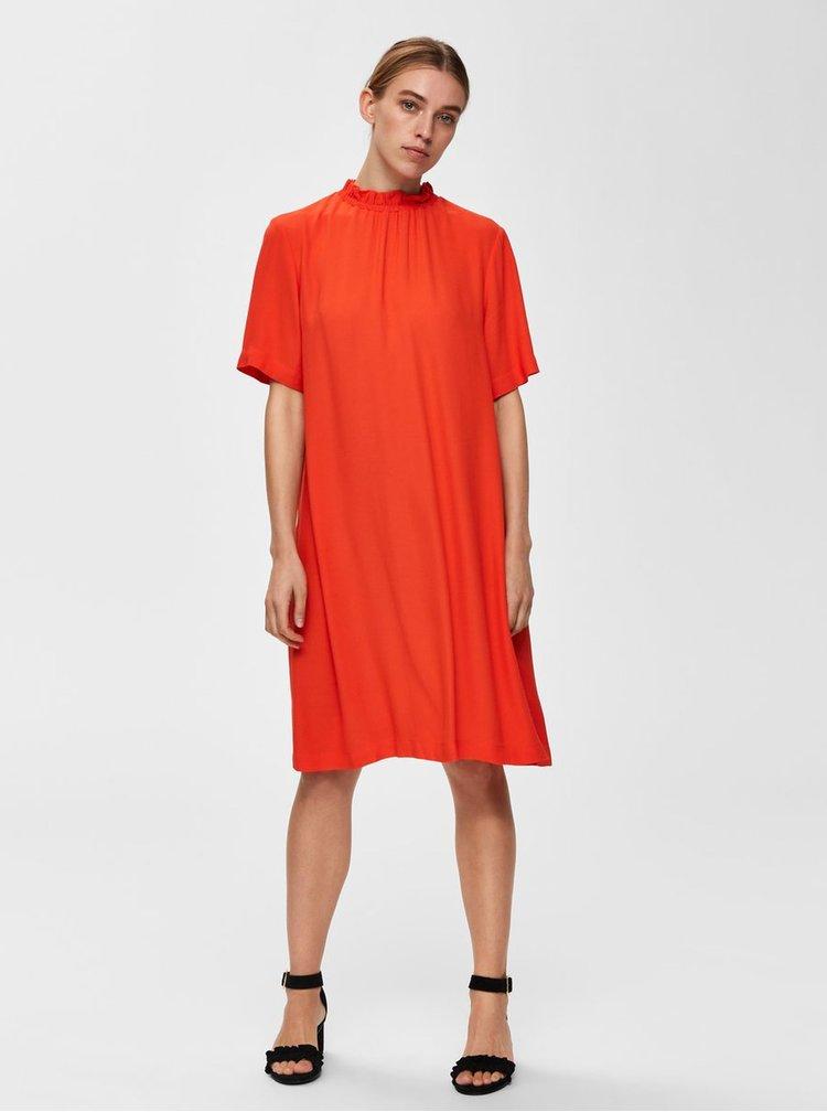 Oranžové šaty Selected Femme Rinna