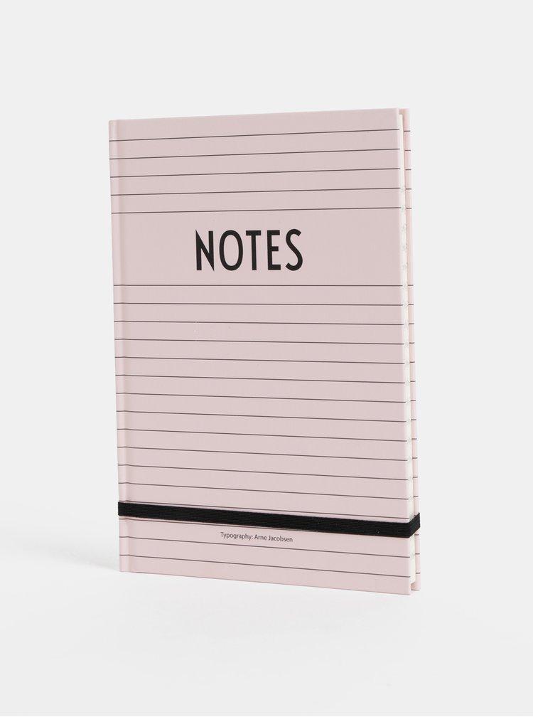 Růžový zápisník Design Letters Notes A5
