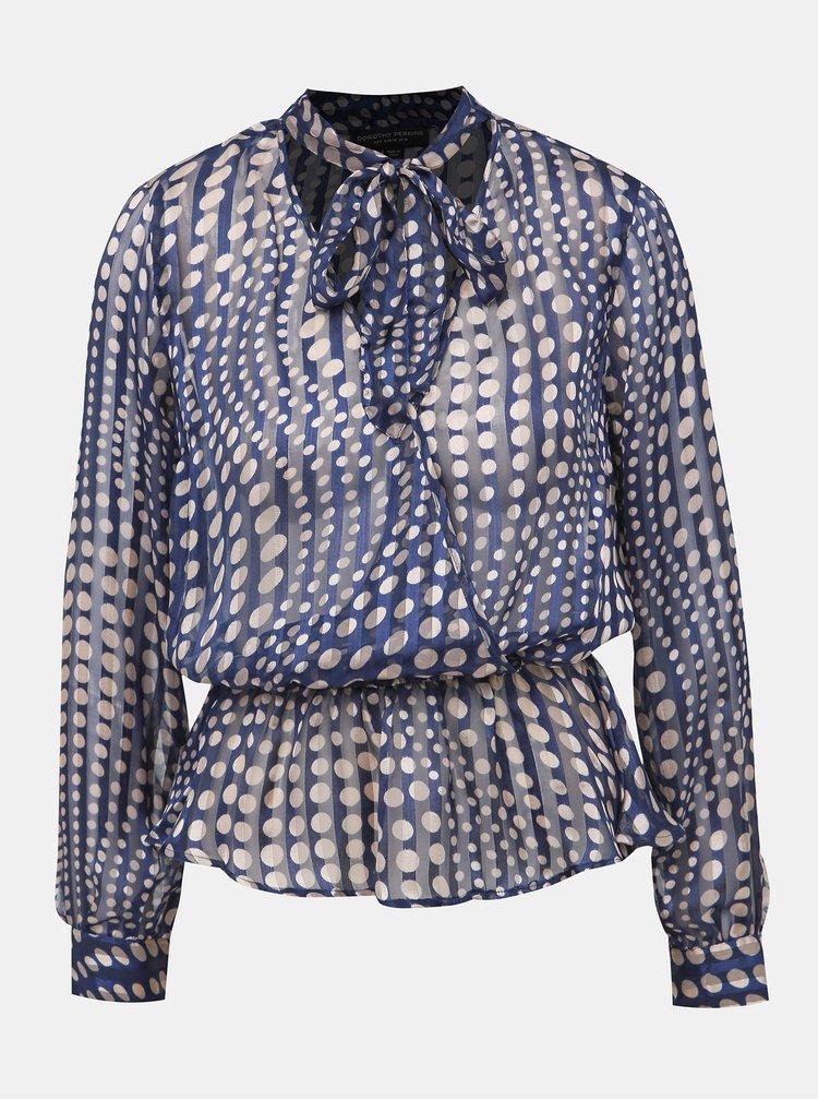 Tmavě modrá puntíkovaná průsvitná halenka Dorothy Perkins