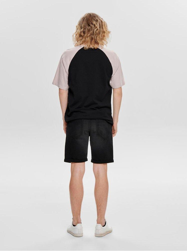 Fialovo-černé basic tričko ONLY & SONS Logan