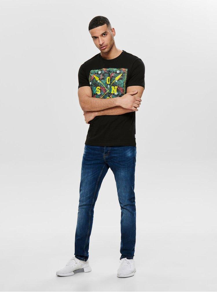 Čierne tričko s potlačou ONLY & SONS Pace
