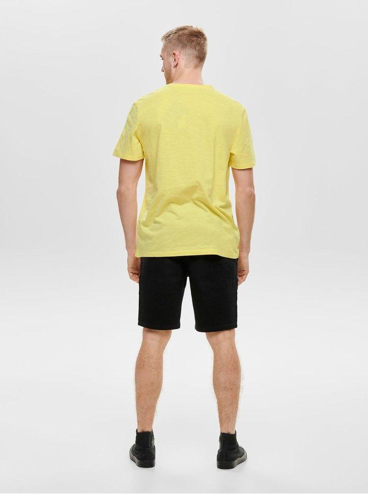 Žlté tričko s potlačou ONLY & SONS Promto