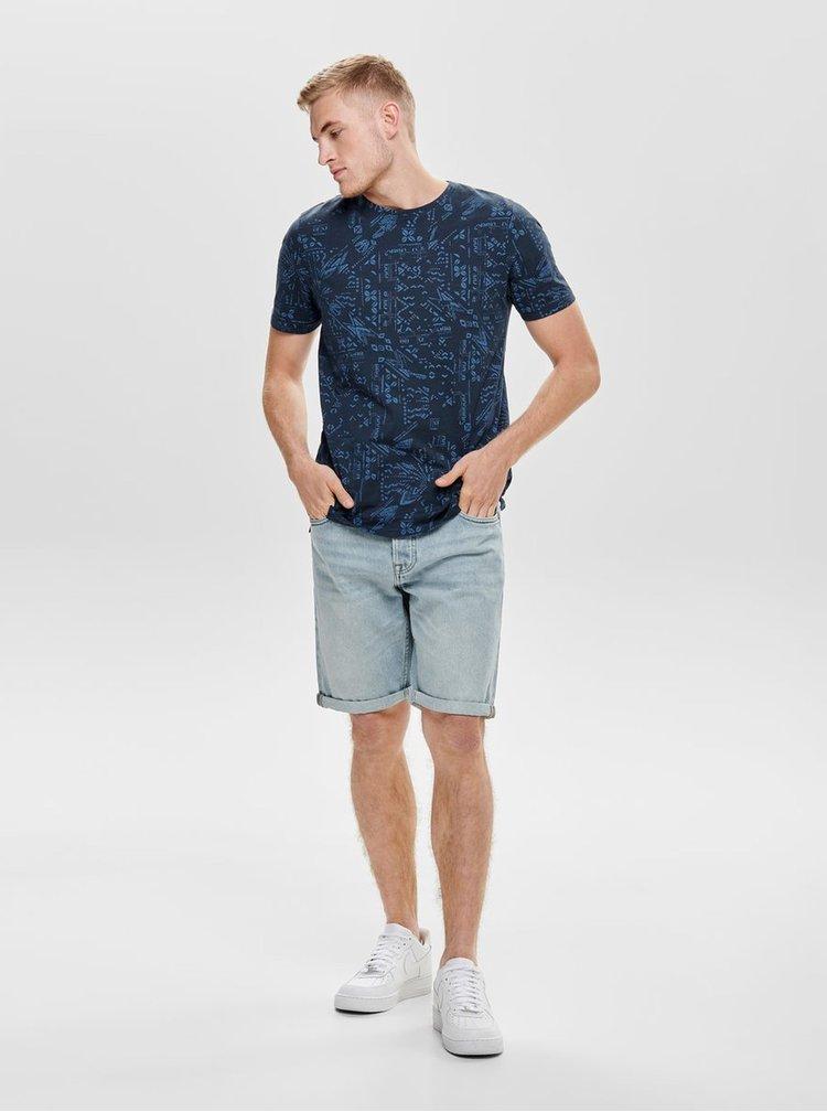 Tmavě modré vzorované slim fit tričko ONLY & SONS Next
