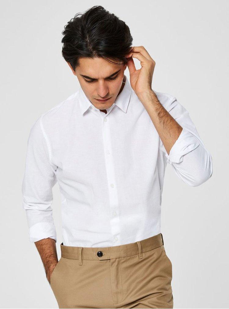 Bílá slim fit košile s příměsí lnu Selected Homme Linen