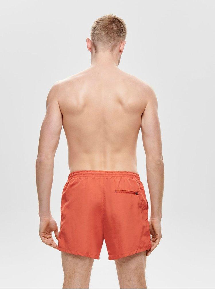 Oranžové basic plavky ONLY & SONS Tino