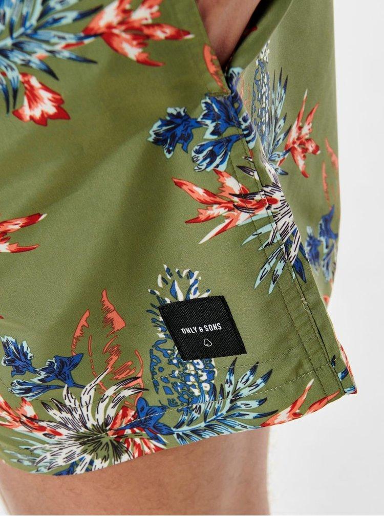 Khaki květované plavky ONLY & SONS Tan
