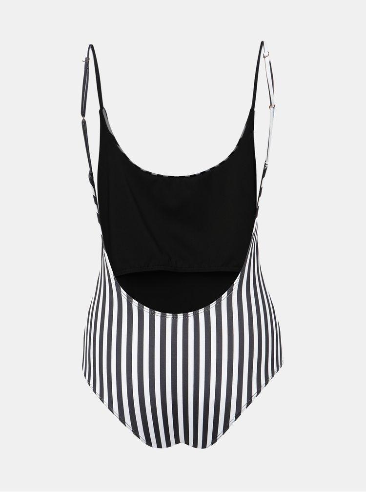 Černo-bílé jednodílné plavky Femi Stories Lido