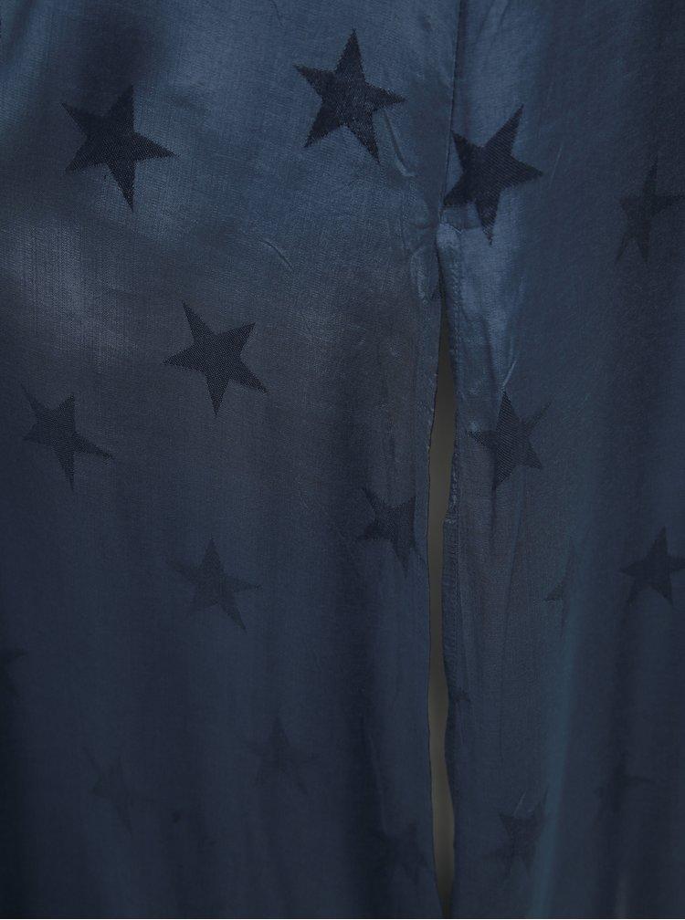 Tmavomodré vzorované maxišaty Femi Stories Ultika