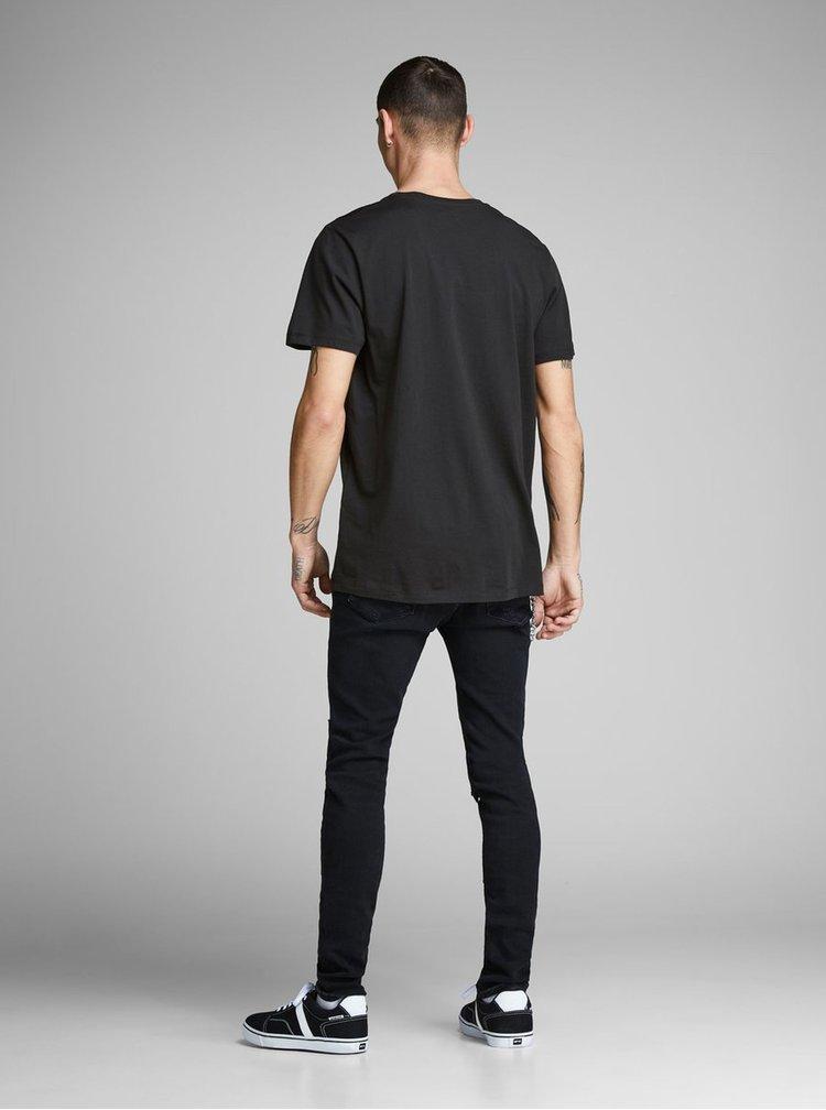 Čierne tričko s potlačou Jack & Jones Funny Mal