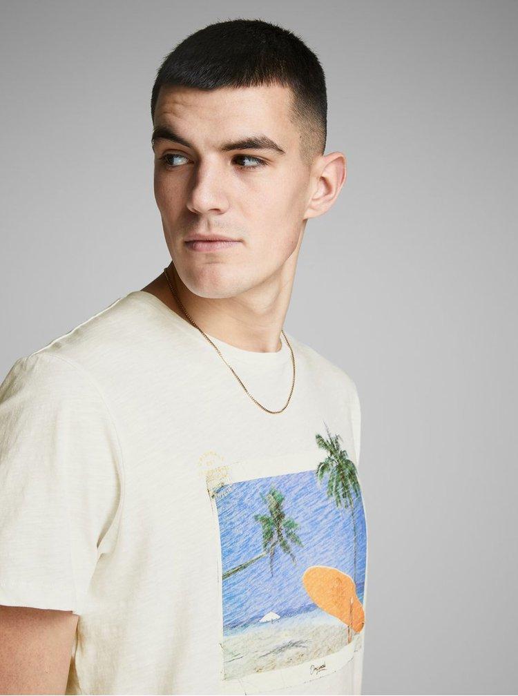 Bílé tričko s potiskem Jack & Jones Traveller