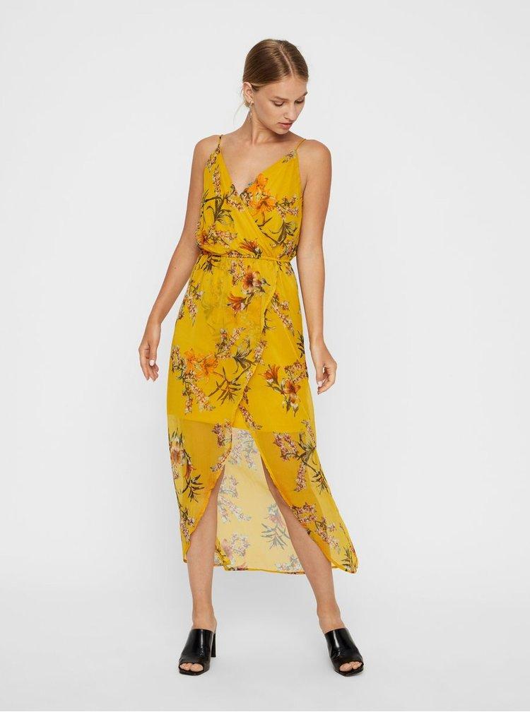Žluté květované maxišaty na ramínka VERO MODA Wonda