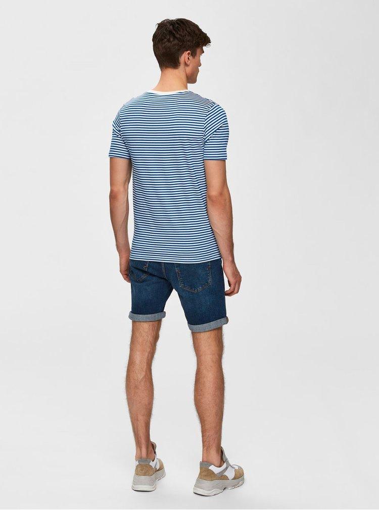Bielo–modré pruhované tričko Selected Homme The Perfect