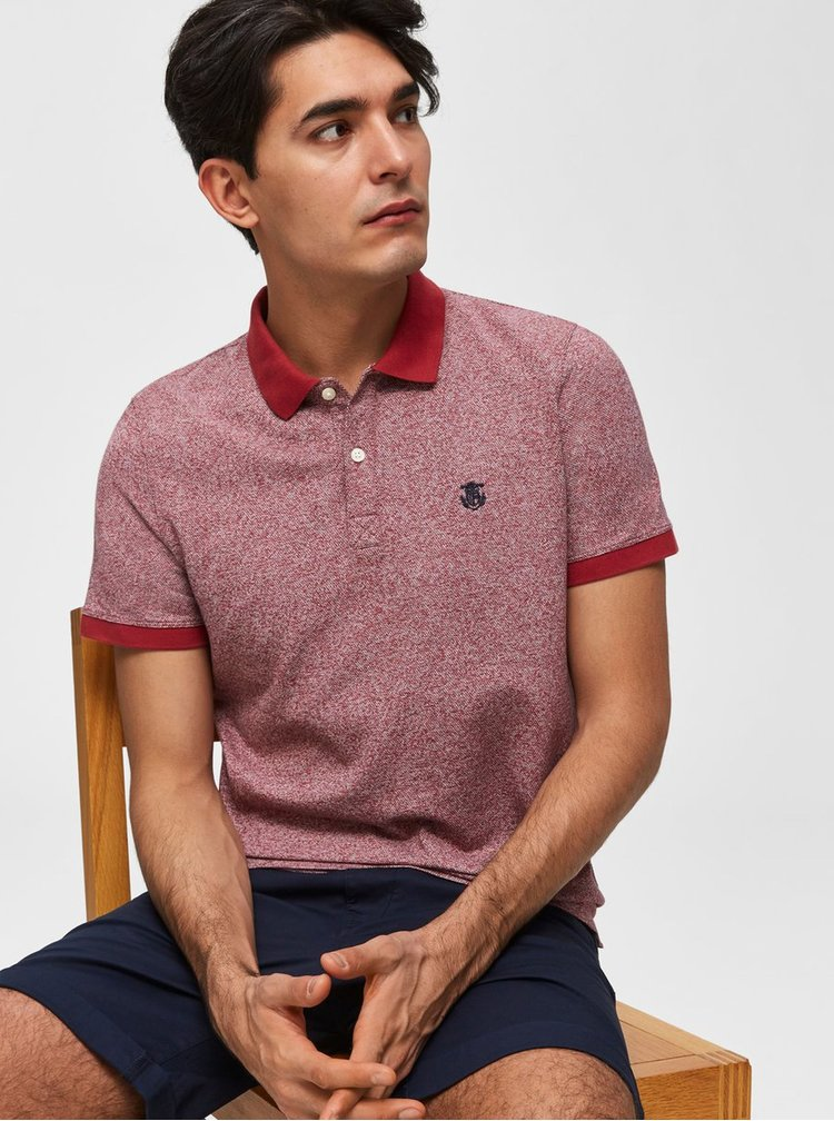 Červené žíhané polo tričko Selected Homme Aro