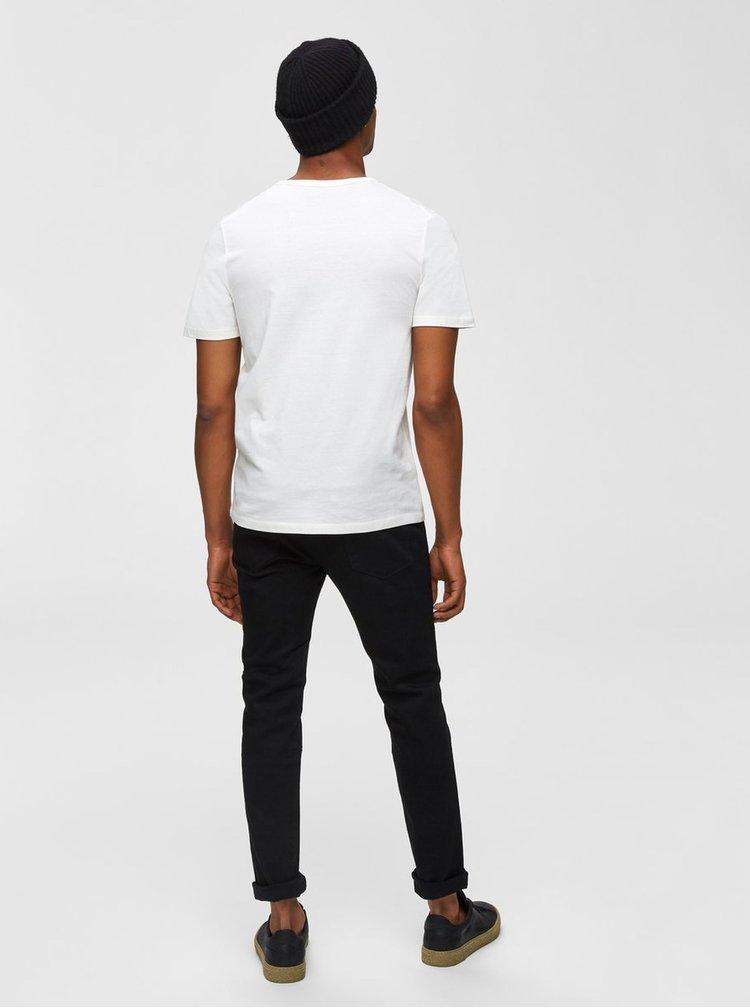 Krémové tričko s potlačou Selected Homme Chester