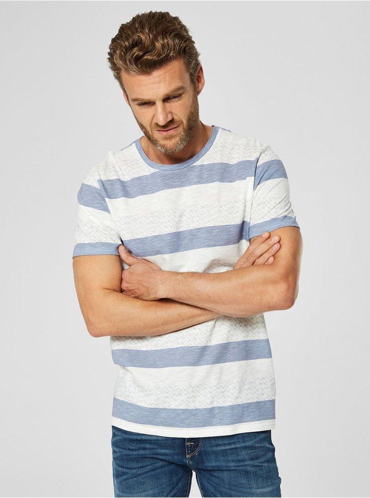 Tricou albastru-crem cu model Selected Homme Kristian