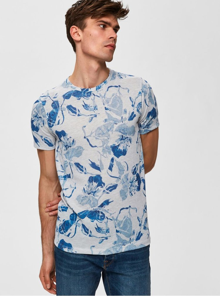 Modro-šedé květované tričko Selected Homme Matthew