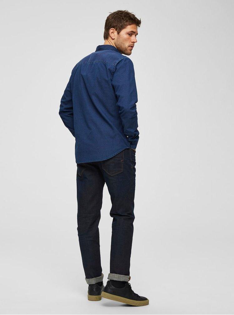 Camasa albastru inchis cu buline regular fit Selected Homme Landon