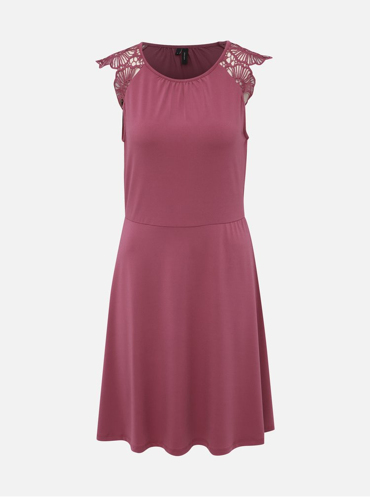 Vínové šaty s krajkou VERO MODA Donika
