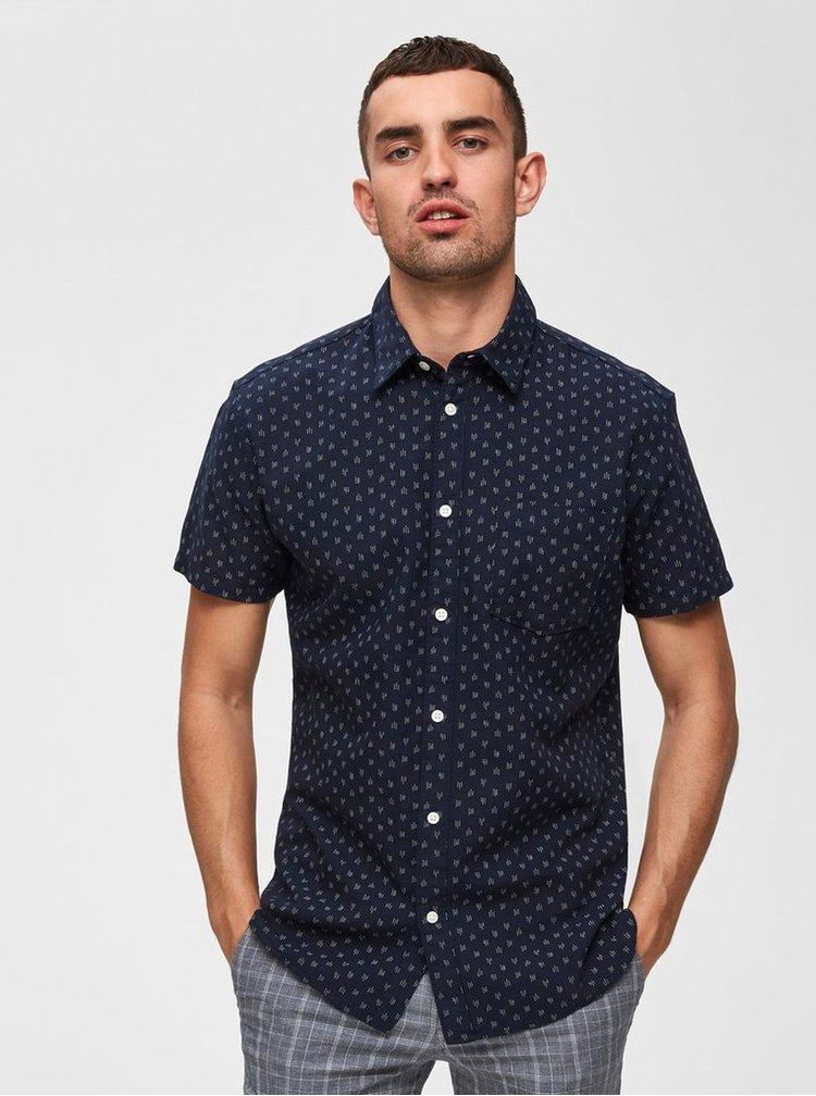 Tmavomodrá vzorovaná slim fit košeľa Selected Homme Matthew