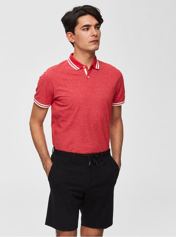 Červené žíhané polo tričko Selected Homme Lau