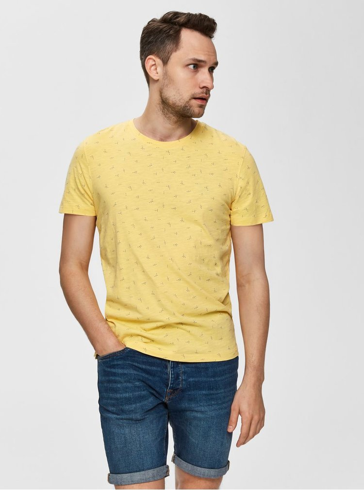 Žlté vzorované tričko Selected Homme Oliver