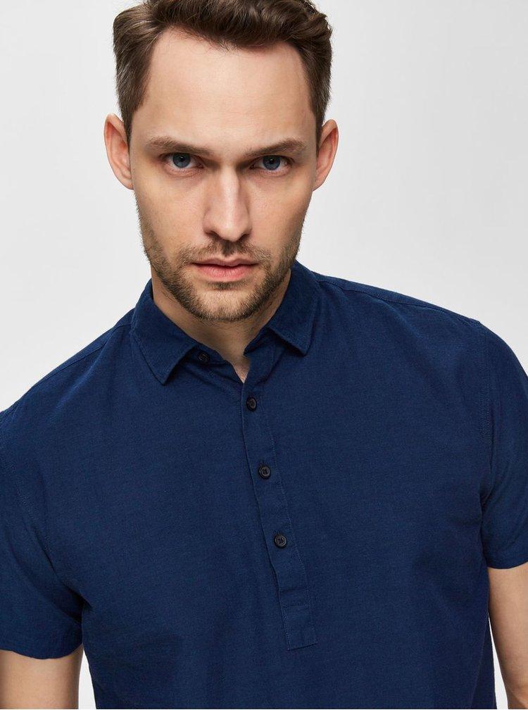 Tmavomodrá regular fit košeľa s prímesou ľanu Selected Homme Regtune