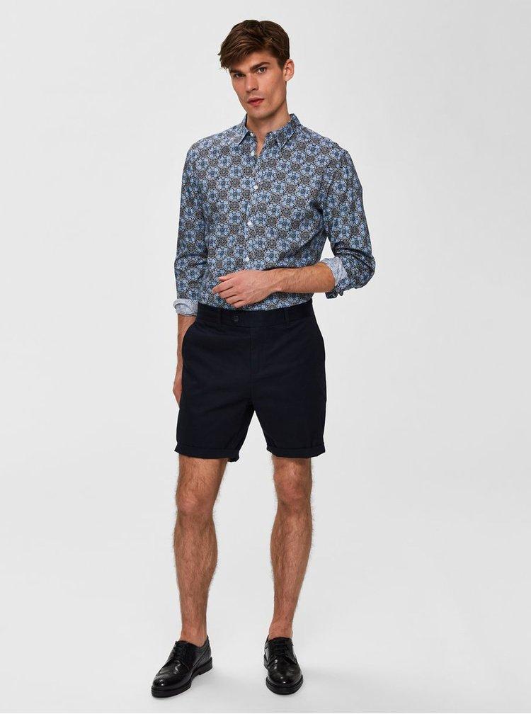 Černo-modrá květovaná slim fit košile Selected Homme Rollo