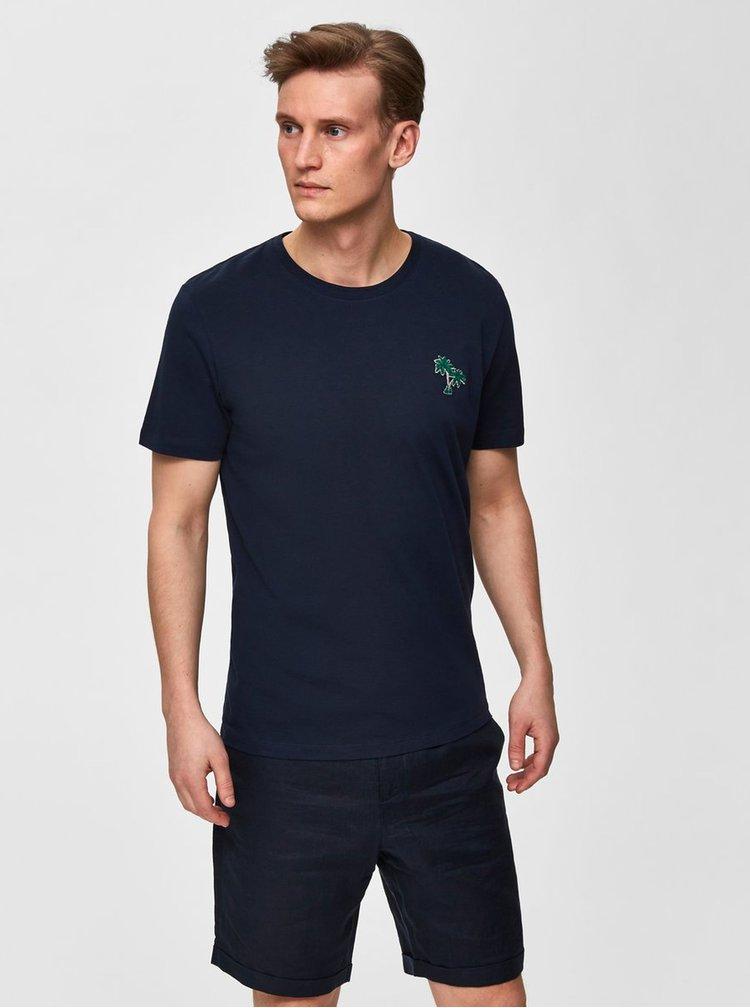 Tricou albastru inchis Selected Homme Miami