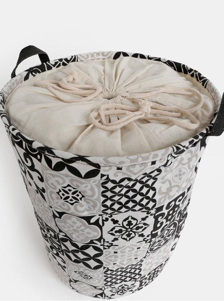 Černo-bílý vzorovaný koš na prádlo SIFCON