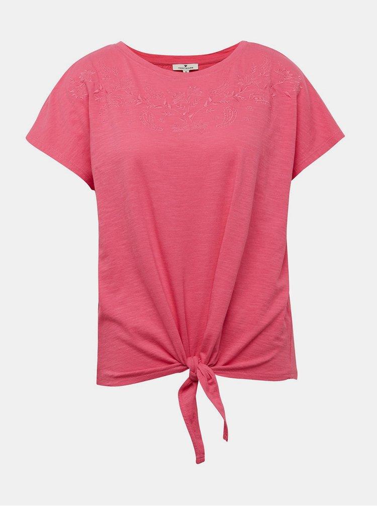 Ružový top s výšivkou Tom Tailor