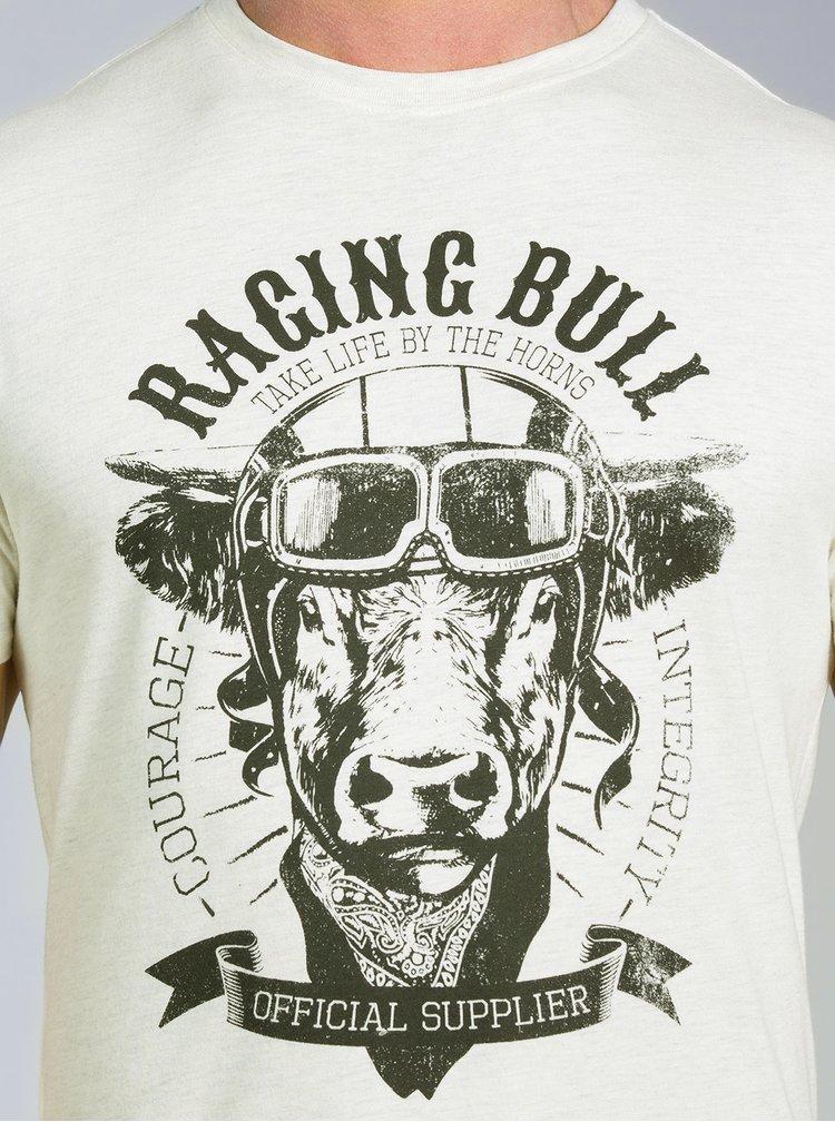 Krémové žíhané tričko s potiskem Raging Bull