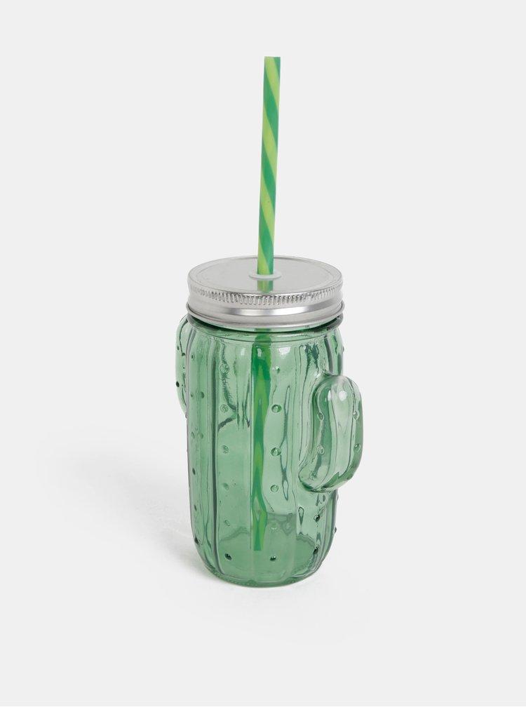 Tmavě zelená sklenice ve tvaru kaktusu SIFCON